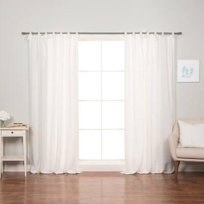 """52"""" W X 96"""" L 100% Linen Romantic Tie Top Curtain Set White"""