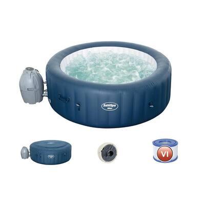 SaluSpa Milan Airjet Plus Portable Round Inflatable 4 Person Hot Tub Spa, Blue