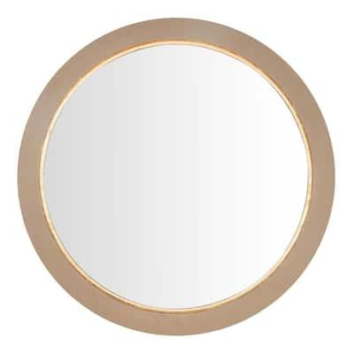 Medium Round Grey Farmhouse Accent Mirror with Gold Inlay (36 in. Diameter)
