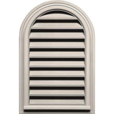 22 in. x 32 in. Round Top Plastic Built-in Screen Gable Louver Vent #048 Almond