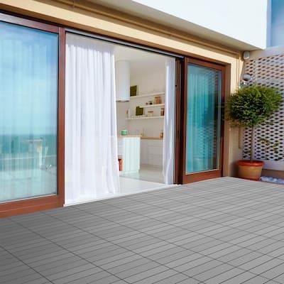 12 in. x 12 in. Outdoor Interlocking Slat Polypropylene Patio and Deck Tile Flooring in Dark Gray (Set of 6)