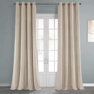 Alabaster Beige Velvet Grommet Blackout Curtain - 50 in. W x 120 in. L