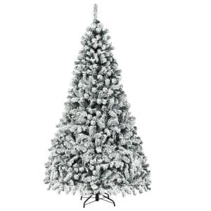 7.5 ft. Pre-Lit LED Premium Snow Flocked Snow Hinged Artificial Christmas Tree with 450 Lights