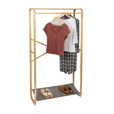 Gray Bamboo Clothes Rack 36 in. W x 65.94 in. H