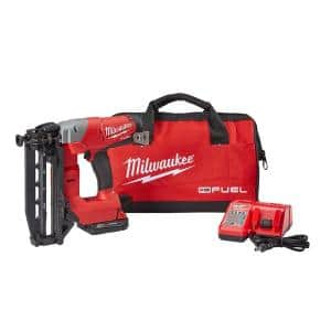 M18 FUEL 18-Volt Lithium-Ion Brushless 16-Gauge Cordless Straight Finish Nailer Kit w/One 2.0 Ah Battery, Charger & Bag