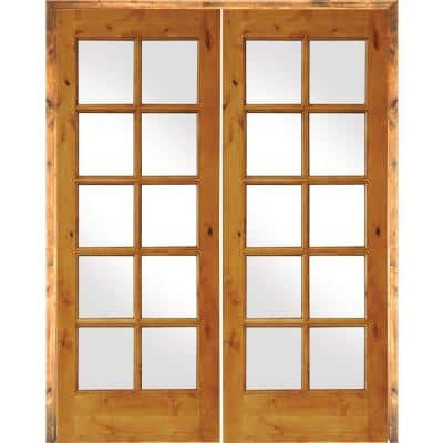 64 in. x 80 in. Rustic Knotty Alder 10-Lite Low-E Glass Right Handed Solid Core Wood Double Prehung Interior Door