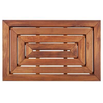 Premium Oiled Brown Teak Indoor and Outdoor Shower/Bath Mat 31.4 in. x 19.6 in.