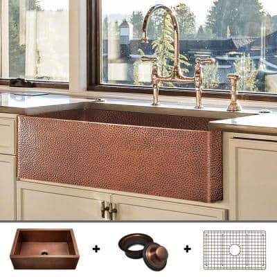 Luxury 33 in. Heavy 12-Gauge Copper Farmhouse Kitchen Sink, Flat Front, Single Bowl, Includes Grid and Flange