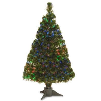 2.6 ft. Battery Operated Fiber Optic Ice Artificial Christmas Tree