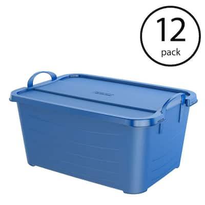 Blue Stackable Closet Home Storage Box Container, 55 Qt. (12-Pack)