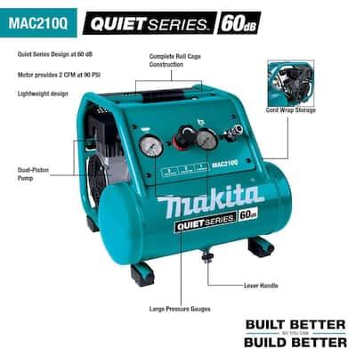 2 Gal. Quiet Series 1 HP Electric Oil-Free Air Compressor with Bonus Pneumatic 2 in. 18-Gauge Brad Nailer