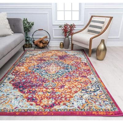Hailey Rosy Peach Red 5 ft. x 7 ft. Area Rug