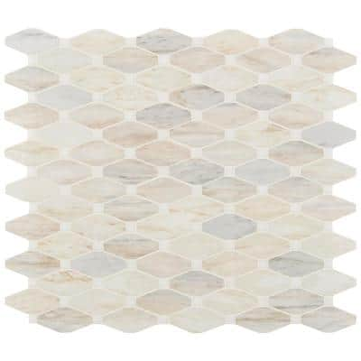 Angora Elongated Octagon 13.4 in. x 11.81 in. x 10 mm Polished Marble Mosaic Tile (10.9 sq. ft. / case)