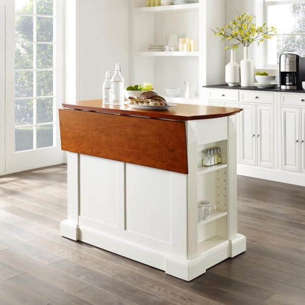 Crosley Coventry White Kitchen Island With Cherry Drop Leaf Top Kf30007wh The Home Depot