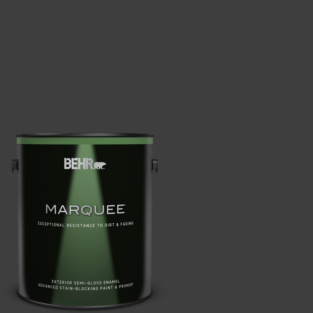 1 gal. #T13-3 Black Lacquer Semi-Gloss Enamel Exterior Paint & Primer