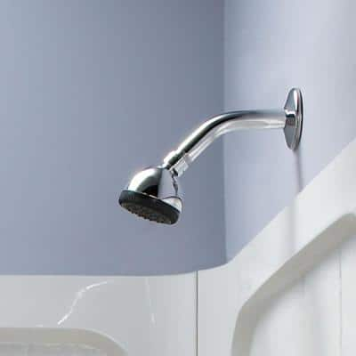 1-Spray 2.5 in. Single Wall Mount Fixed Shower Head in Polished Chrome