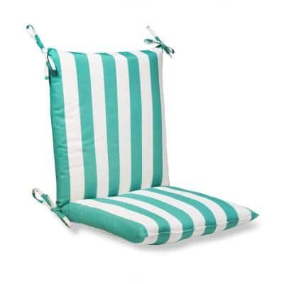 20 in. x 20 in. Outdoor Standard Midback Dining Chair Cushion in Awning Stripe Seaglass (2-Pack)