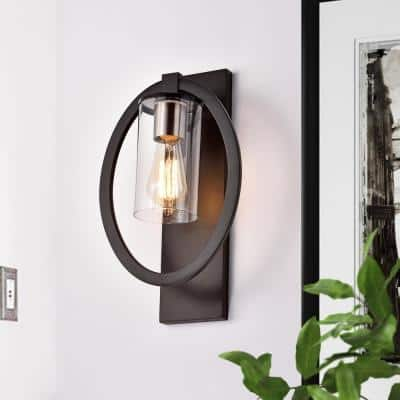 4.15 in. Black Sconce with Clear Glass Shade