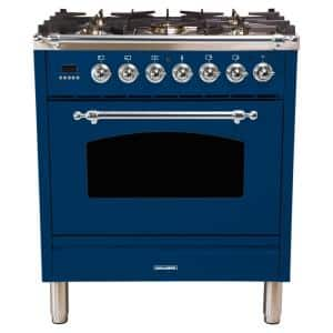 30 in. 3.0 cu. ft. Single Oven Italian Gas Range with True Convection, 5 Burners, LP Gas, Chrome Trim in Blue