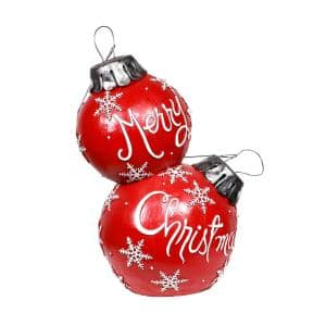 30 in. Tall Christmas Ball Ornament with Color Changing LED Lights, Red