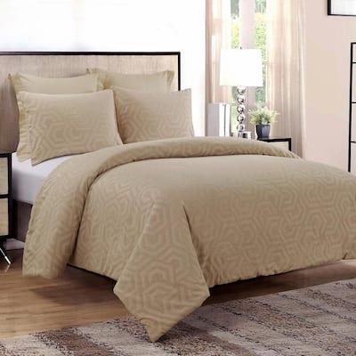Seville 3-Piece Sand Cotton King Comforter Set