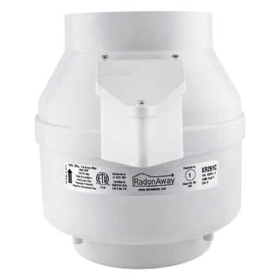 XR261 6 in. Inlet and Outlet Inline Radon Fan in White with 1.6 in. Maximum Operating Pressure