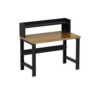 30 in. x 48 in. Heavy-Duty Adjustable Height Commercial Grade Work Bench with Solid Hardwood Top and Ledge Shelf