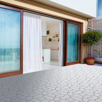 11.5 in. x 11.5 in. Grey Outdoor Interlocking Stone Look Polypropylene Patio and Deck Tiles in Gray (Set of 30)