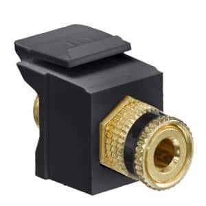 QuickPort Binding Post Connector with Black Stripe, Black
