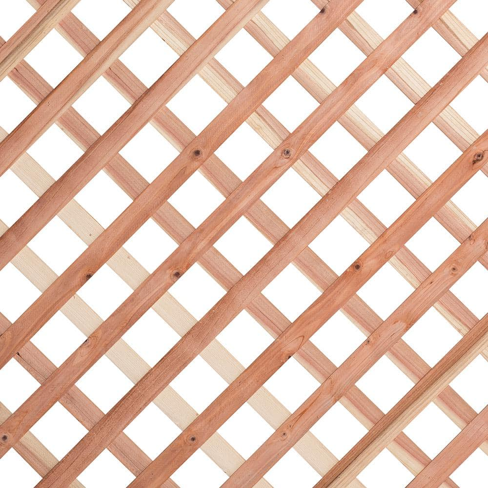 1 4 In X 24 In X 8 Ft Redwood Privacy Diamond Lattice 277754 The Home Depot