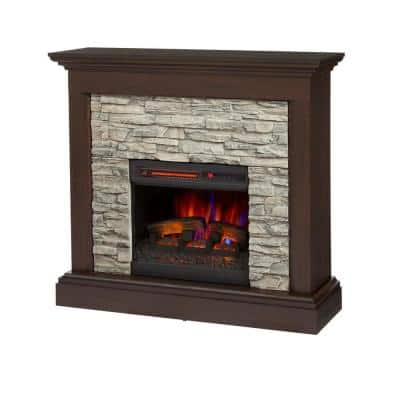 Home Decorators Collection Whittington 40 In Freestanding Electric Fireplace In Brushed Dark Pine With Gray Faux Stone 140060 The Home Depot