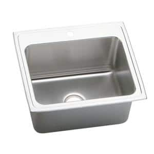 Lustertone Drop-In Stainless Steel 25 in. 1-Hole Single Bowl Kitchen Sink with 12 in. Bowl