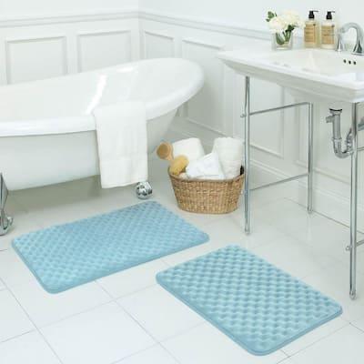 Massage Aqua 17 in. x 24 in. Memory Foam Bath Mat