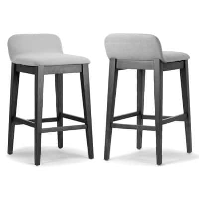 Atia Black Rubberwood Bar Height Barstool with Low Back Fabric Seat (Set of 2)