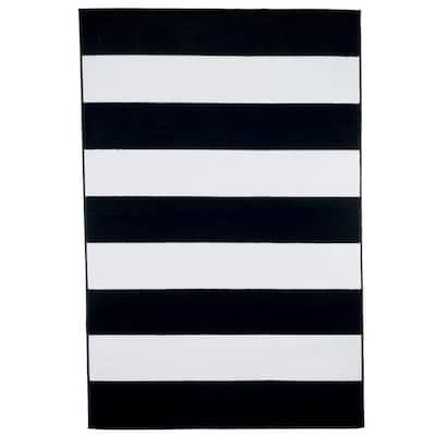 Stripe Black 4 ft. x 6 ft. Area Rug