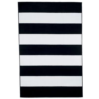 Stripe Black 8 ft. x 10 ft. Area Rug