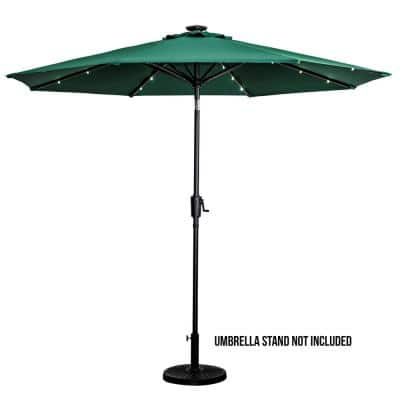 Sun Ray, 9 ft. Market, Solar, Tilt, Round Patio Umbrella in Hunter Green