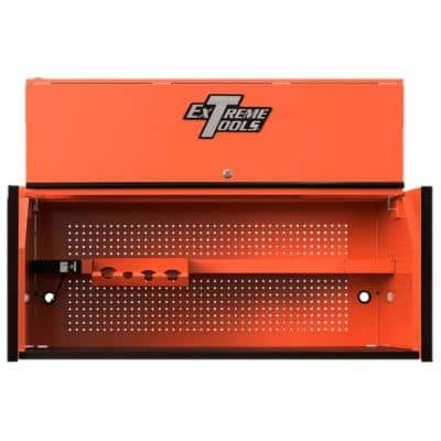 RX 55 in. Orange Triple Bank Hutch with Gloss Black Handle and Trim
