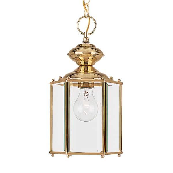 Sea Gull Lighting Classico 1 Light Polished Brass Outdoor Semi Flushmount Convertible Pendant 6008 02 The Home Depot