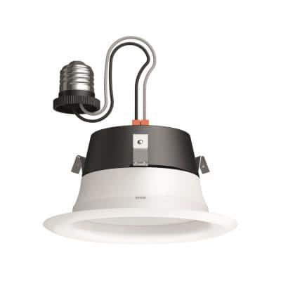 65-Watt 4 in. Soft White (2700K) Warm Glow Dimming Effect Dimmable Integrated LED Recessed Retrofit Downlight Flood Trim