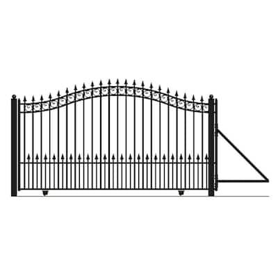 Prague Style 18 ft. x 6 ft. Black Steel Single Slide Driveway Fence Gate