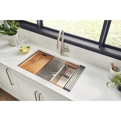 16-Gauge Stainless Steel 33 in. 50/50 Double Bowl Undermount Workstation Kitchen Sink with Accessories