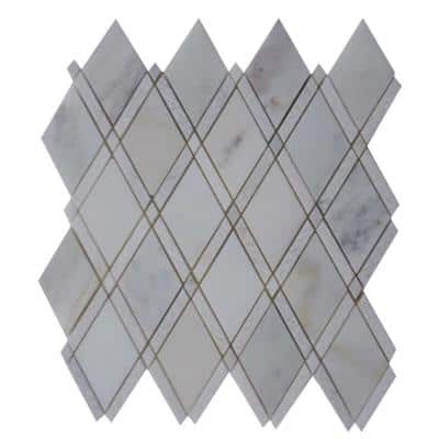 Grand Textured Asian Statuary 11 in. x 12 in. x 10 mm Polished Marble Mosaic Tile