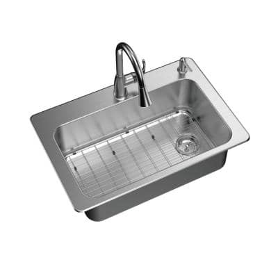 All-in-One Stainless Steel 33 in. 2-Hole Single Bowl Dual Mount Kitchen Sink with Pull Down Faucet