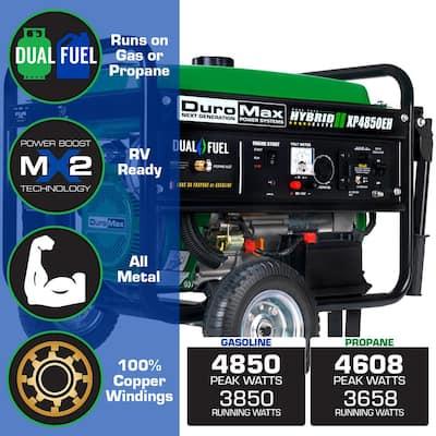 4,850-Watt/3,850-Watt Electric Start Dual Fuel Powered Portable Generator
