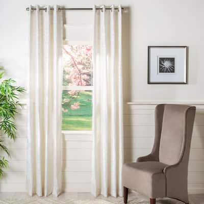 Beige Geometric Grommet Sheer Curtain - 52 in. W x 96 in. L