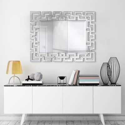 Medium Rectangle Clear Beveled Glass Modern Mirror (31 in. H x 40 in. W)