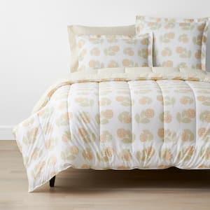 Company Cotton Hydrangea Yellow Floral Full Percale Comforter