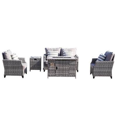Maxwell 5-Piece Aluminum Wicker Outdoor Gas Fire Pit Conversation Set with Gray Cushions