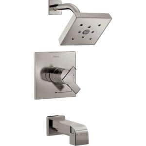 Ara 1-Handle Wall Mount Tub and Shower Trim Kit in Stainless with H2Okinetic (Valve Not Included)